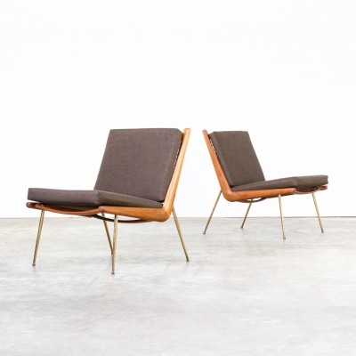 Pair of FD 135 boomerang lounge chairs by Peter Hvidt & Orla Mølgaard Nielsen for France & Son, 1960s