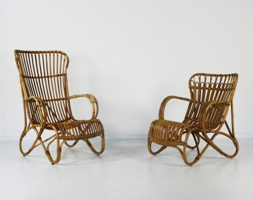Pair of rattan lounge chairs by Rohe Noordwolde