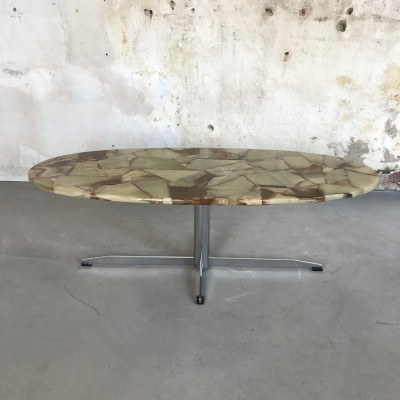 Vintage Coffee Table with Epoxy Resin Marble Top, 1970s