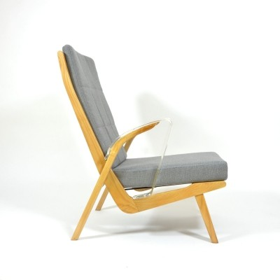 Unique Retro Armchair with Armrests Made Of Plexiglass, 1970s