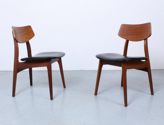 Teak & black skai dining chairs by Louis van Teeffelen for Wébé