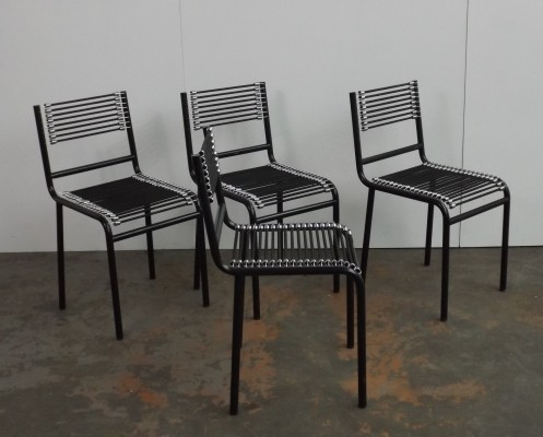 Set of 4 Sandows dinner chairs by Rene Herbst, 1980s