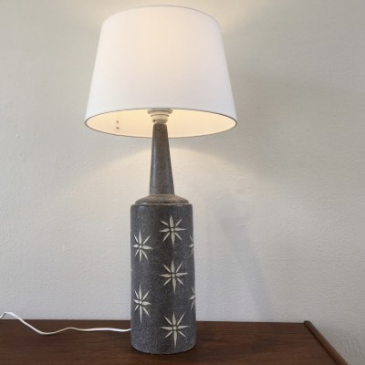 Tall Grey Danish Midcentury Ceramic Table Lamp
