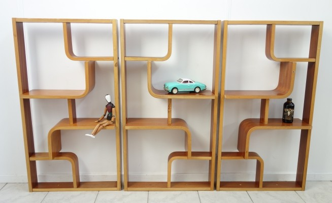 Rare small 's' version wall unit by Ludvik Vola for Drevopodnik Holesav