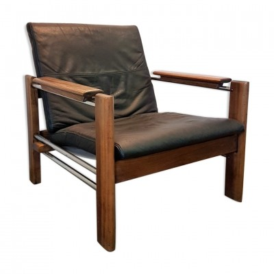 Rosewood & chrome lounge chair with leather cushion