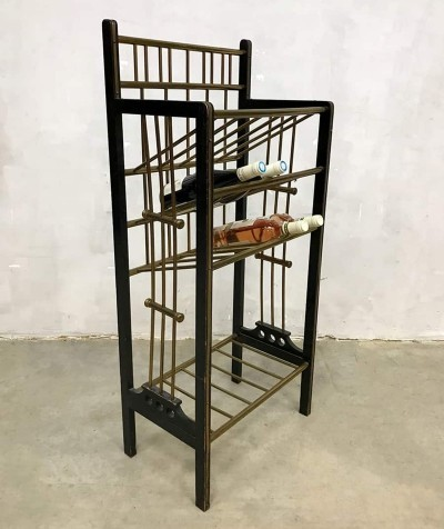 Vintage midcentury modern wooden & brass wine bottle rack