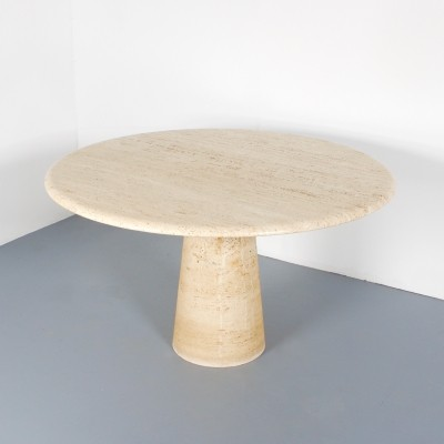 Impressive Round Italian Travertine Dinner Table, 1970s