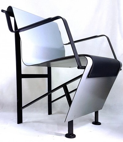 Aluminum & steel design chair, 1980s