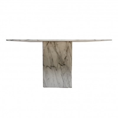 Italian Carrara marble square dining table, 1980's