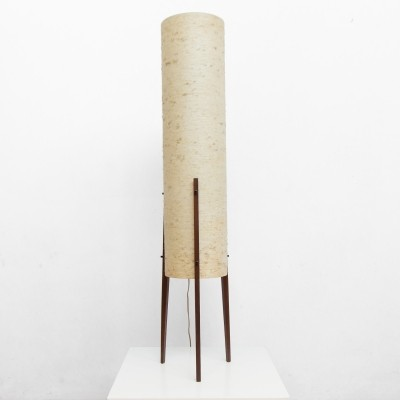 Wooden floor lamp with high cylindrical cream shade, 1950s