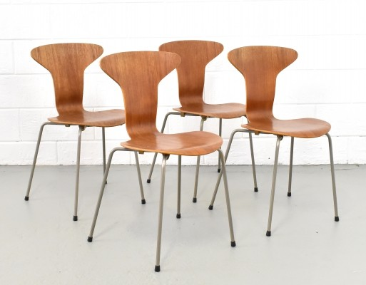 Set of 4 model 3105 dinner chairs by Arne Jacobsen for Fritz Hansen, 1950s