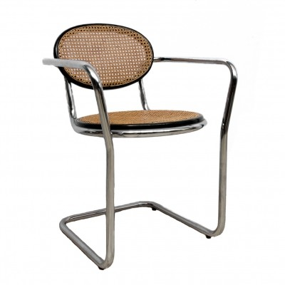 Black chrome & cane chair, 1970s