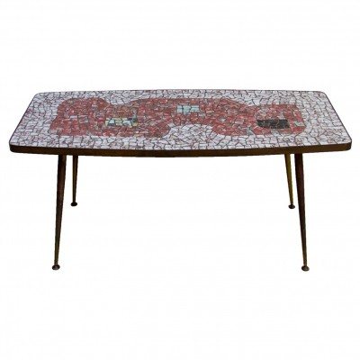 Brass & mosaic coffee table by Berthold Muller Oerlinghausen