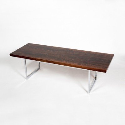 Minimalist coffee table by Dieter Waeckerlin Rio palissander & chromed metal