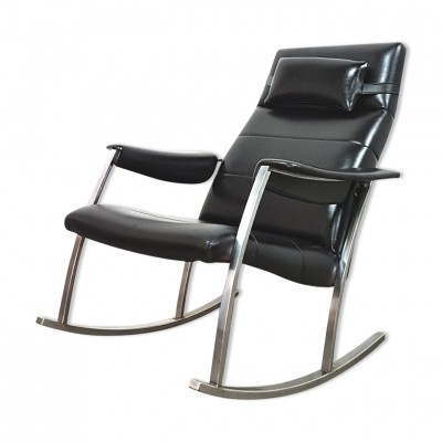 Avanti Culemborg rocking chair made of metal & vinyl, 1960s