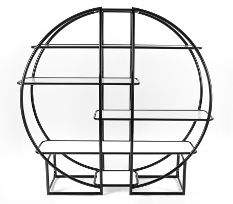 Bauhaus Circular Black Etagere with Glass Display Shelves