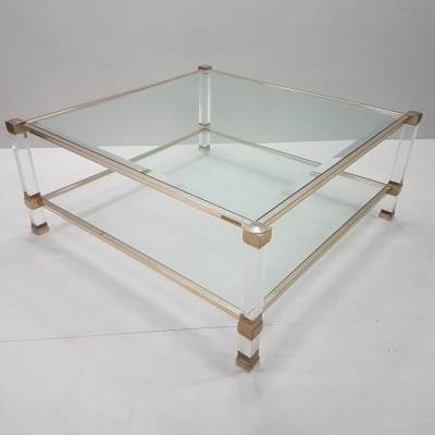Lucite & gilt metal square coffee table with 2 glass shelves by Pierre Vandel