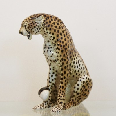 Hand Painted Porcelain Leopard Sculpture by Ronzan, Italy 1970s