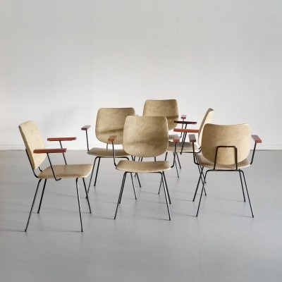 Set of 6 Dining Chairs by W.H. Gispen for Kembo, 1950s