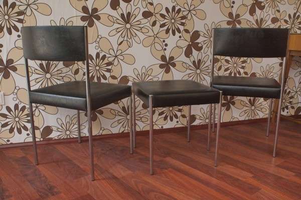 Set of 2 chairs & stool with synthetic leather, 1960s