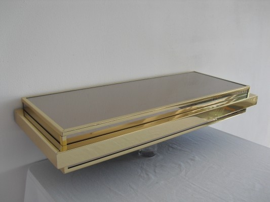 Vintage Mirror & Brass Wall Console, 1980's