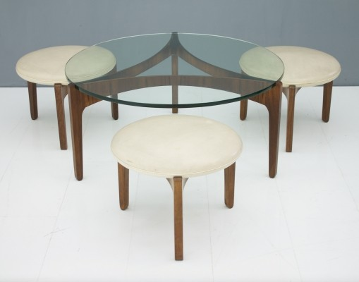 Rare set of a three leg coffee table & three stools by Sven Ellekaer