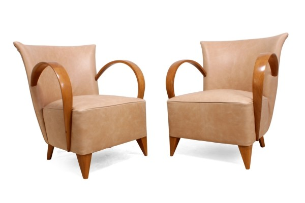 A Pair of Leather Art Deco Chairs, France c1920