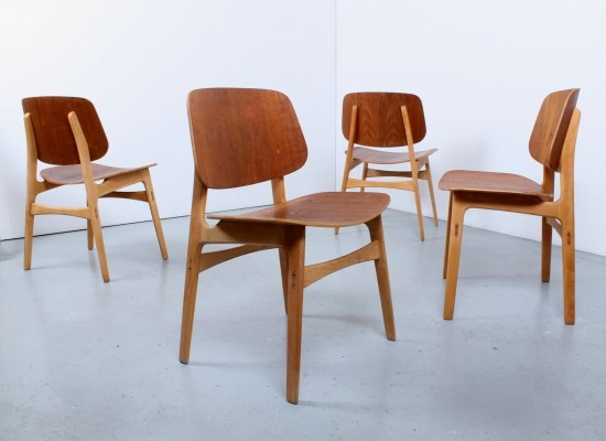Set of 4 teak plywood 'Model 155' dining chairs by Børge Mogensen