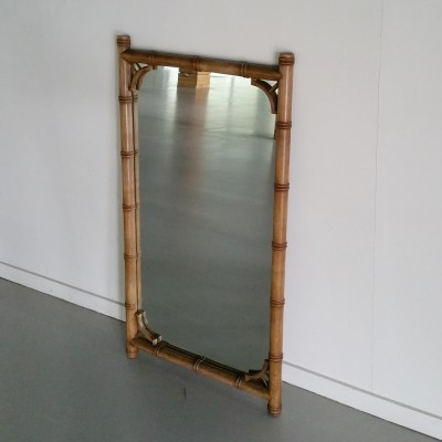 Large Faux Bamboo Wall Mirror, 1950s