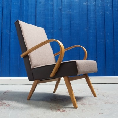 Bentwood Lounge Chair from TON in Brown Tweed, 1960's
