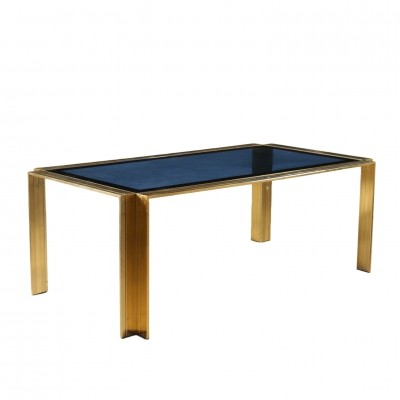 Metal & Blue Glass dining table, Italy 1970s