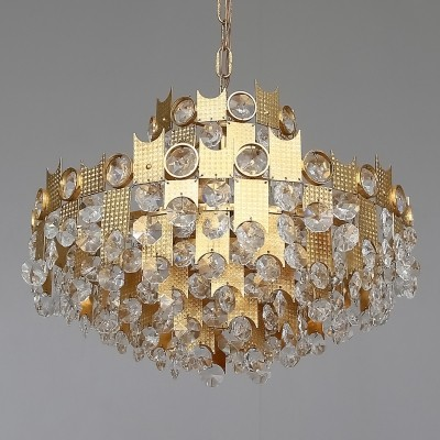 Mid Century gilt brass crystal glass chandelier by Palwa