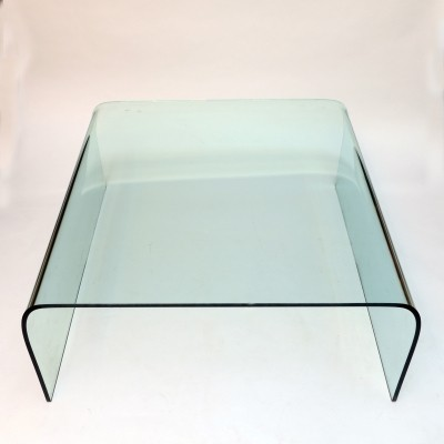 Vintage glass coffee table by Fiam, Italy 1980s