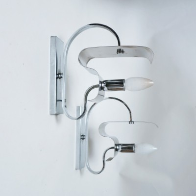 Pair of Chrome wall lamps, 1970s
