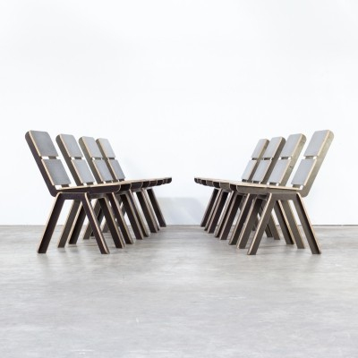 Set of 8 Luc Brinkman & Ennio Vincenzoni 'stek' chairs for het Hoofdkwartier