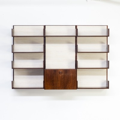 60s Marten Franckema for Fristho rosewood & seagrass canvas wall unit cabinet