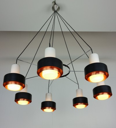 Midcentury Chandelier with Opal Glass & Black & Copper Shade, 1960s