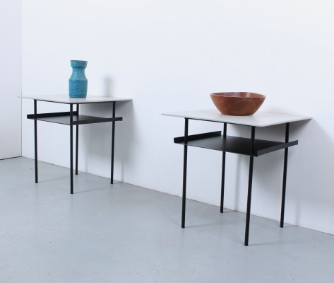 Pair of Black grey industrial side tables by Wim Rietveld for Auping