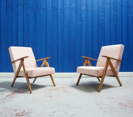 Pair of Mid Century Lounge Chairs in Champagne Pink Velvet