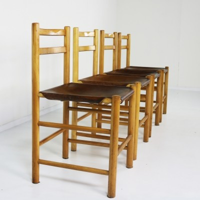 Set of 4 dining chairs by Ate van Apeldoorn for Houtwerk Hattem, 1970s