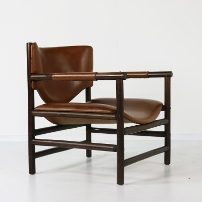 Bamboo & brown leather lounge chair, 1970s