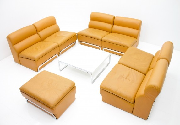 Modular Leather Seating Group & Coffee Table by Horst Brüning for Kill International, 1970