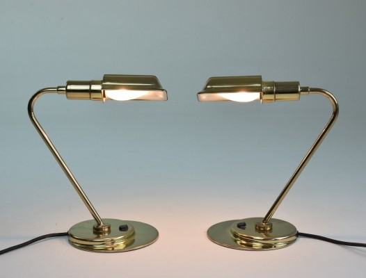 Pair of Mid-Century French Brass Desk Lamps, 1960s