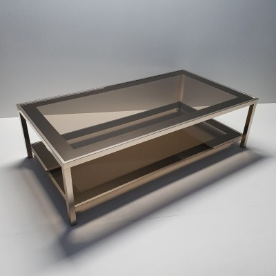 23K Gilt coffee table with smoked glass by Belgo Chrom
