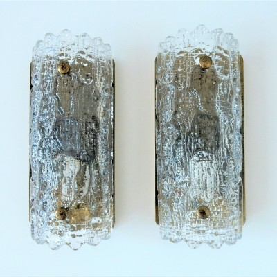 Crystal glass & brass 'Gefion' wall sconces by Carl Fagerlund for Orrefors