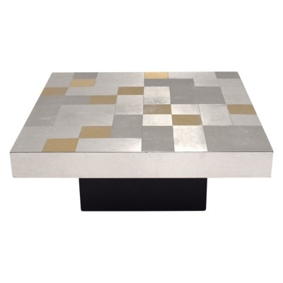 Coffee table with aluminum mosaic top, 1970s