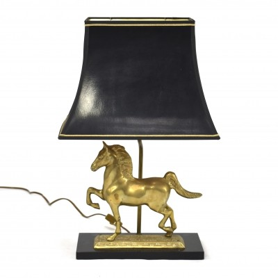 Brass horse table lamp, France 1970s