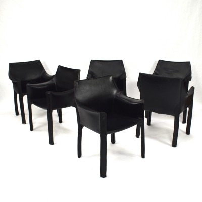 Set of 6 Model CAB 413 armchairs by Mario Bellini for Cassina
