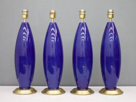 Set of Four Cobalt Blue Glass table Lamps