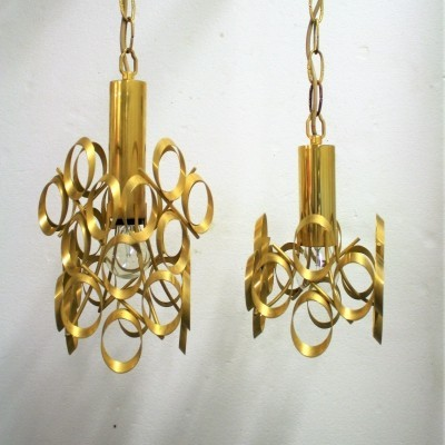Pair of vintage brass pendant lights by Gaetano Sciolari, Italy 1960s